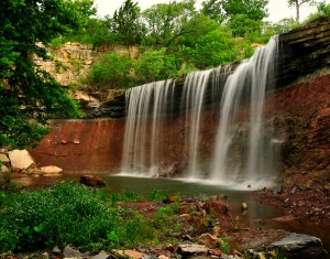 Waterfall at Cowley State Fishing Lake